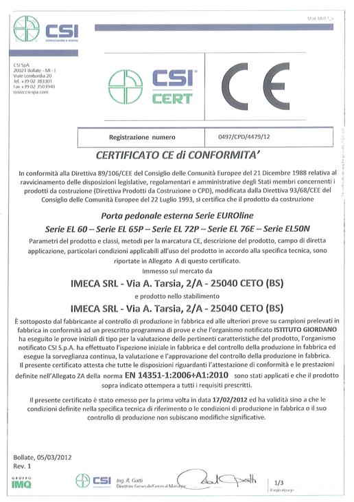 Certificato CSI porte US 1