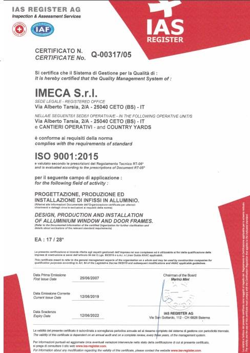 IMECA serramenti certificazione ISO