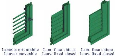 persiane in alluminio fisse o orientabili